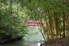 red japanese garden bridge royalty free stock images