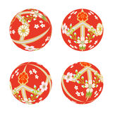 Red Japanese Old-fashioned toy ball.  Royalty Free Stock Photography