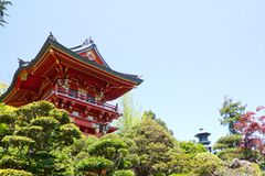 Red Japanese Pagoda Stock Photo