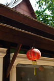 Red japanese paper lanterns on roof Stock Photo