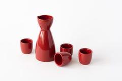 Red japanese sake set Royalty Free Stock Photography
