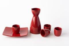 Red japanese sake set Stock Images