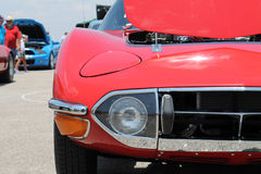 Red japanese sports car front corner Stock Photography