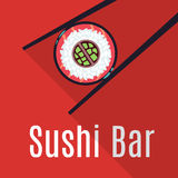 Red Japanese sushi bar food logo template. Restaurant logotype traditional, vector illustration Royalty Free Stock Image