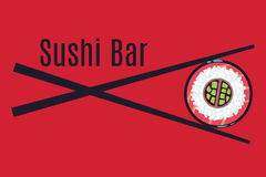 Red Japanese sushi bar food logo template. Traditional restaurant, vector illustration Stock Image