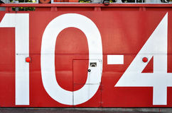 Red japanese tsunami watertight door with the number 10-4 Stock Photos