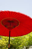 Red Japanese umbrella (parasol) Stock Image