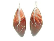 Red jasper jewellery earrings Royalty Free Stock Photos