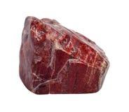 Red jasper stone. Red jasper raw piece isolated on white background Stock Photo