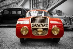 Red Jawa 750 Coupe racing car. Jawa 750 Coupe racing car from 1935 stands in National Technical Museum in Prague, Czech Republic. The car was created to Royalty Free Stock Photography