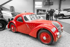 Red Jawa 750 Coupe racing car. Jawa 750 Coupe racing car from 1935 stands in National Technical Museum in Prague, Czech Republic. The car was created to Royalty Free Stock Photos