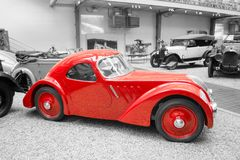 Red Jawa 750 Coupe racing car. Jawa 750 Coupe racing car from 1935 stands in National Technical Museum in Prague, Czech Republic. The car was created to Stock Photo