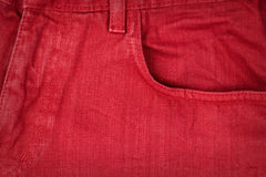 Red jeans fabric with pocket Royalty Free Stock Photos