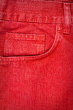 Red jeans fabric with pocket Stock Photography
