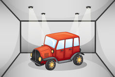 A red jeep inside the garage. Illustration of a red jeep inside the garage royalty free illustration