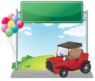 A red jeep near an empty green board. Illustration of a red jeep near an empty green board on a white background royalty free illustration