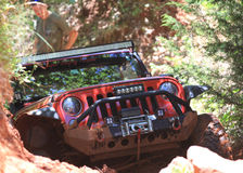 Red Jeep at Oklahoma Off Road Park Royalty Free Stock Images