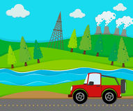 Red jeep riding on the road Royalty Free Stock Photos