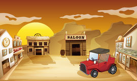 A red jeepney outside the saloon. Illustration of a red jeepney outside the saloon vector illustration