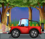 A red jeepney in the road. Illustration of a red jeepney in the road royalty free illustration