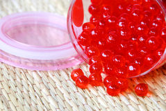 Red jelly balls. Closeup of red jelly balls stock photo
