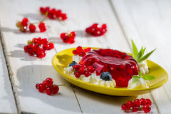 Red jelly with berry fruits Royalty Free Stock Photography