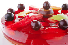 Red jelly cake and cherry Stock Photography