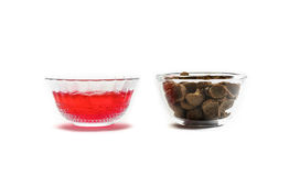 Red jelly with  cereal Stock Photos