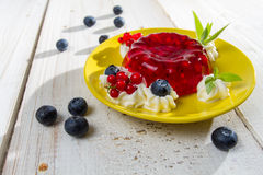 Red jelly with cranberry and red currant Stock Photo