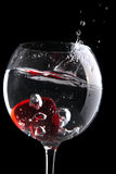 Red jelly heart in wine glass Stock Photography