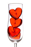 Red jelly hearts in champagne glass Stock Image
