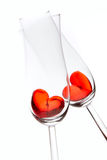 Red jelly hearts in champagne glasses Royalty Free Stock Photo