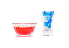 Red jelly with ice cube Royalty Free Stock Image