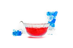 Red jelly with ice cube Royalty Free Stock Photos