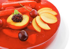Red jelly pie with apricot and watermelon Royalty Free Stock Photography