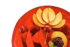 Red jelly pie with apricot and watermelon Royalty Free Stock Photo