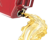 Red jerry can with fuel pouring and splasing out of it Royalty Free Stock Photos