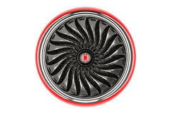 Red jet engine, front view. 3D rendering Stock Images