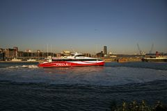 Red Jet 6 Southmapton Town Quay. Red jet 6 Hydrofoil Southampton Town Quay at Sunset Royalty Free Stock Image