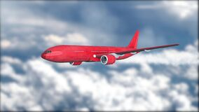 A red jetliner flying above the clouds. Blurred background. Airplane. Realistic 3D visualization. Sunny weather. A jet