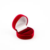 Red jewelry box isolated on white Royalty Free Stock Photography