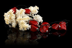 Red jewelry with coral on black Royalty Free Stock Photography