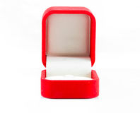 Red jewelry open box to putting ring Royalty Free Stock Images