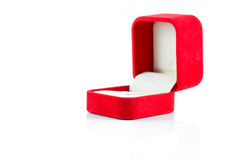 Red jewelry open box to putting ring Stock Photos