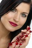 Red jewels. Portrait of lady with jewels stock photography