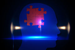 Red jigsaw on blue head Stock Photography