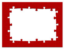 Red jigsaw puzzle frame or background Royalty Free Stock Photo