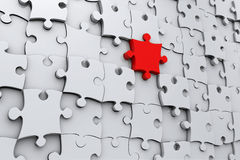 Red jigsaw puzzle piece Stock Images
