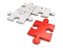 Red jigsaw puzzle piece stand out from the crowd different concept Royalty Free Stock Photo