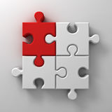 Red jigsaw puzzle piece stand out from the crowd different concept on white wall background with shadow Royalty Free Stock Image